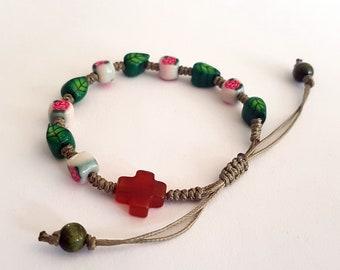 PCRB018022 / Knotted Catholic Rosary Bracelet/  Luminous Rosary Bracelet/ Handmade Beads Rosary * Baptism * First Communion *Religious Gift