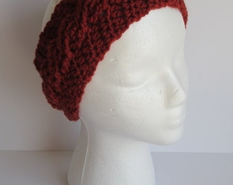 READY TO SHIP* Rust crochet ear warmer, crochet headband, cable knit ear warmer, rust crochet hat, winter headband, cable headband