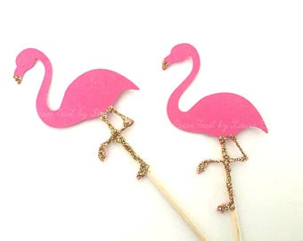 10 Hot Pink and Gold Flamingo Cupcake Toppers.  Let's Flamingo.  Tropical Party Decorations.  Summer Decorations.