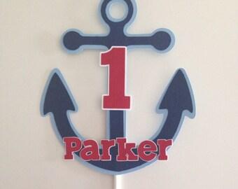 Nautical Cake Topper   Anchor Cake Topper   Nautical Party Decor   Anchor Party Decor   Nautical Anchor Name