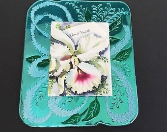 Vintage Turquoise & green Foil Greeting Card, Get Well, Iris note on front