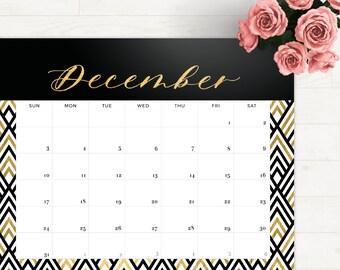 2017 Monthly Desk Planner Black Gold Letter • 2017 Calendar Black Gold 2017 Monthly Planner Gold Calendar Printable 2017 Monthly Calendar