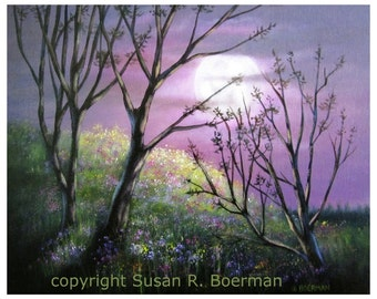 Wildflowers in Moonlight - 8 x 10 Fine Art Print of a Hillside with Wildflowers and Trees Under a Full Moon