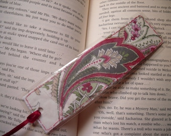 Upcycled Floral Bookmark, Laminated Fabric Collage  Bookmark.