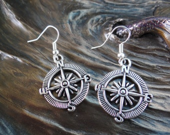 North South East West AHOY Compass Captain Captain's Rockabilly Mermaid Sailor Sailor's Nautical Travel Gift Antique Silver Dangle Earrings