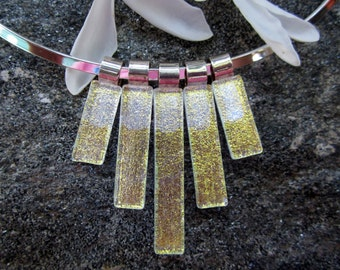 Light gold dichroic fused glass Statement Necklace