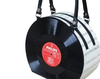 retro vinyl record handbag bag - music gift for musician - nostalgic vintage gifts for women - sustainable bag - repurposed gifts for her