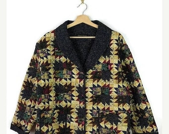 ON SALE Vintage Floral/Multi pattern patchwork Quilted Cotton Jacket  from 90's *