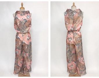 Vintage 1970s pastel floral print palazzo jumpsuit - size S