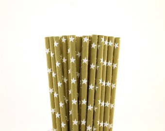 Gold with White Star Paper Straws-Star Straws-Gold Straws-New Years Straws-Rockstar Party Straws-Wedding Straws-Cake Pop Sticks-Paper Straws