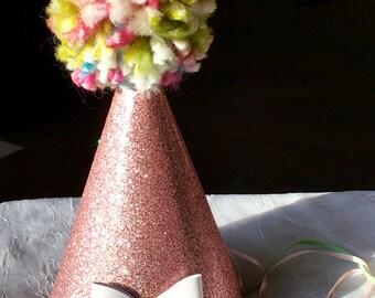 pink birthday hat, girls birthday hat, first birthday hat,