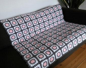 Grey Throw Pink Blanket Grey Throw Blanket Pink Throw Blanket Grey Blanket Pink Throw Grey Sofa Throw SAVE 20%