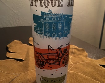 Antique auto frosted iced tea glass
