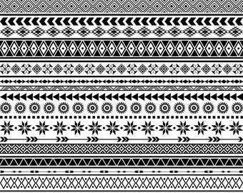 Tribal Borders Clipart Ethnic Borders Clip Art Native American Borders African Borders Aztec Borders Geometric Borders Clipart
