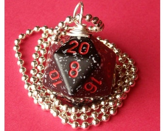 Dungeons and Dragons - D20 Dice Pendant -  Space - Black White Red Geek Gamer DnD Role Playing RPG