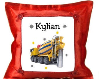 Red truck spinning pillow personalized with name