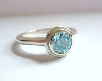 Simple Aqua Solitaire Ring
