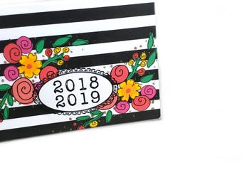 2018 - 2019  mini Planner - Modern Floral Stripe - pocket planner - two year calendar - chic 2 year monthly planner new year's organization