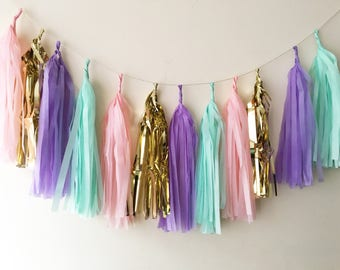 Unicorn pastel gold mix  tassel garland unicorn party wedding birthday baby shower christening decoration back drop