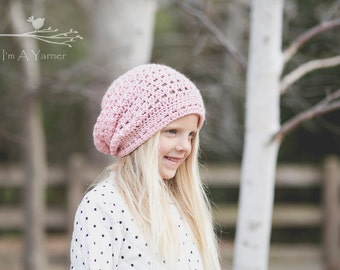 Pink Slouchy Hat, Crochet Beanie, Slouch Hat, Knit Slouchy Hat, Slouchy Beanie Women, Slouchy Beanie Baby, Winter Hat, Slouchy Hat Crochet