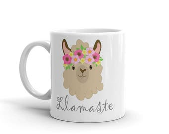 Lamaste, Yoga Llama Mug featuring Elsie and Yoli the Llamas