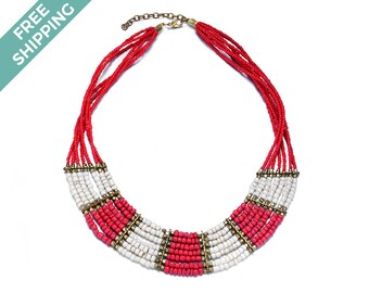Multi-layered Beaded Necklace Featuring Red, White & Gold Beads