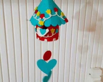 Colorful Felt Birdhouse Hanging, Ornament Blue