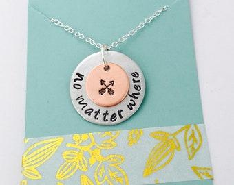No Matter Where Necklace, Best Friends Necklace, Friendship Arrows, Friends Jewelry, Long Distance Necklace