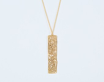 Long Rectangle Mineral gold, fine mesh chain, high plating quality