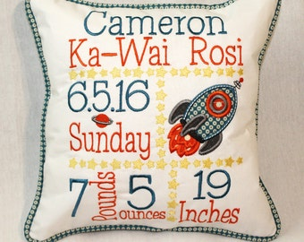 Custom Birth Announcement Pillow - Embroidered with baby's birth information