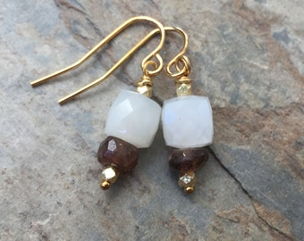Moonstone Earrings with Smokey Topaz and Gold Vermeil, 1 inch long