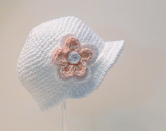 Crochet Pattern - Baby Hat and Baby Slipper with Flower, Sun Hat, Sizes Preemie, Newborn, Baby, Toddler, Girls, Meadowvale Studio # 105