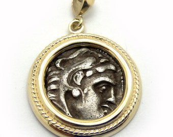 14K Yellow Gold Pendant, Antique Silver Drachma Coin Pendant, Ancient Coin Pendant, Authentic Ancient Coin Jewelry