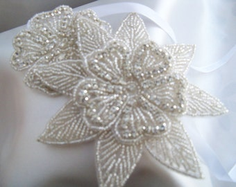 Vintage Look head band Handmade, with beads, crystal