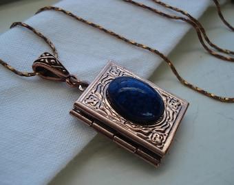 Vintage Antiqued Gold Locket Pendant Necklace Lapis Glass