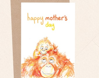 Cute Mother's Day Card, Orangutan Mothers Day, Cute Baby Animal, Card For Mum, Card For Mom, From Child, From Baby, SALE