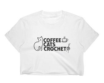 Cat Lover tshirt Coffee cats crochet cute funny cat Women's Crop Top