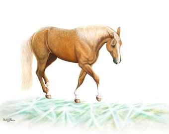 Palomino Mustang Giclee Print by Phariss Horses