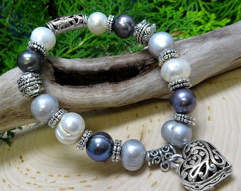 Freshwater & Tahitian Pearl Beaded Bracelet with Stainless Steel Heart Charm