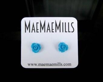 Sky Blue Rose Stud Earrings