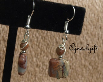 African Opal Jasper Earrings 16019