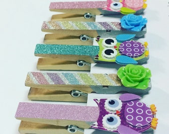 Set of 5 owl clothespins, magnetic clothespins, decorated clothespin fridge magnets, owl clip set, owl magnets, glitter clothespins, owls