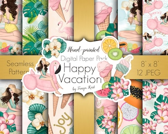 Planner Papers, Summer papers, Summer patterns, Vacation digital paper, Tropical papers, Scrapbook paper, Desiner papers, Beach time