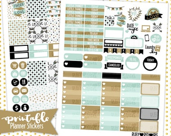 Forever Love | PRINTABLE Planner Stickers | Pdf, Jpg, Silhouette Studio V3 Format | ECLP Vertical Planner Stickers
