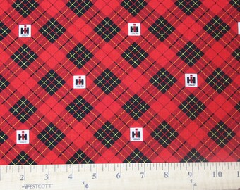 IH International Harvester Logo Plaid Fabric, sold by the yard