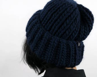 Cosy beanie hat, wool chunky hat, oversized winter hat, hand knitted hat, women's winter hat,