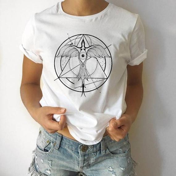 Phoenix ascending | Unisex T-Shirt  | Geometrical drawing | Graphic shirt | Ink Tattoo style | Alchemy | Original artwork | ZuskaArt