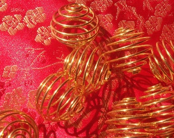 5 large 20 mm round gold metal spiral bead cages