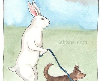 Original Watercolor Rabbit Painting - Walkies