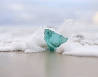 Beach Foam Photo Turquoise Seaglass Print Pastel Sunset Photography Zen Minimalist Wall Art Calming Bedroom Boho Decor Water Splash Photo